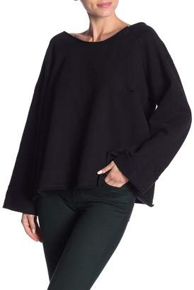 POL Clothing Distressed Off-Shoulder Raglan Sweatshirt
