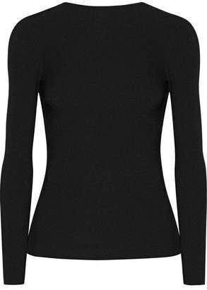 Helmut Lang Tie-back Ribbed Stretch-knit Top - Black