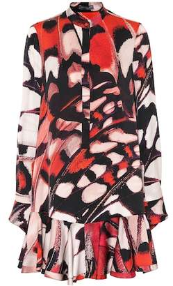 Alexander McQueen Butterfly-printed silk satin dress