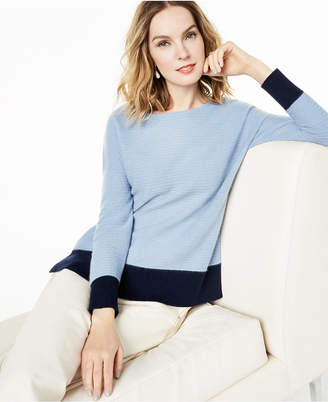 Charter Club Ribbed Colorblocked Cashmere Sweater