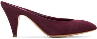 Mansur Gavriel Purple Suede Classic Slipper Heels