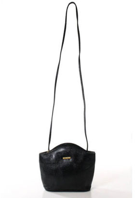 ALBERT NIPON Black Leather Embossed Gold Tone Snap Lock Crossbody Handbag $20.01 thestylecure.com