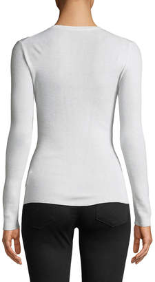 Michael Kors Long-Sleeve Featherweight Cashmere Top