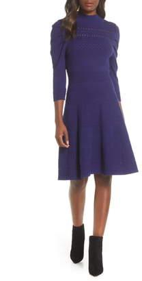 Eliza J Mock Neck Fit & Flare Pointelle & Rib Sweater Dress