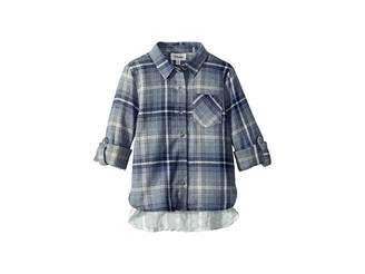 Maddie by Maddie Ziegler Laced Back Flannel Top (Big Kids)