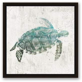 Highland Dunes 'Turquoise Sea Turtle' Watercolor Painting Print on Canvas