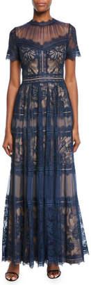 Tadashi Shoji Crewneck Short-Sleeve Lace & Chiffon Gown