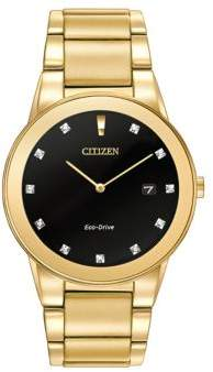 Citizen Mens Axiom Eco-Drive Diamond Yellow Goldtone Stainless Steel Bracelet Watch