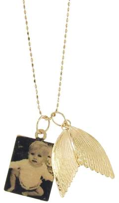 ginette_ny Rectangle Photo Pendant Necklace with Angel Wings