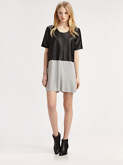 Mason by Michelle Mason Leather-Front Tee Dress