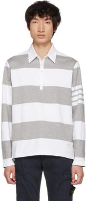 Thom Browne Grey and White Four Bar Relaxed Polo