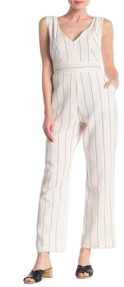 MelloDay Striped Linen Blend Jumpsuit