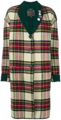 R 13 plaid printed coat
