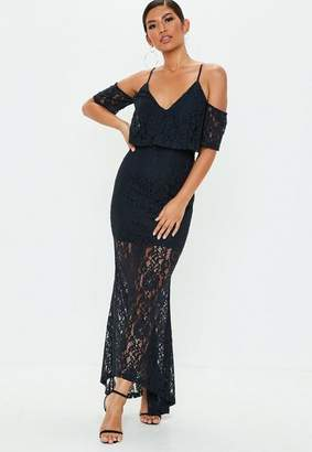 Missguided Navy Cold Shoulder Lace Maxi Dress