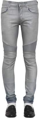 Balmain 15cm Slim Biker Cotton Denim Jeans