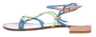 Stuart Weitzman Leather Braided Slingback Sandals