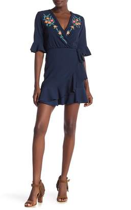 Angie Surplice Neck Embroidered Dress