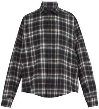 Bless Checked Cotton Shirt - Mens - Grey