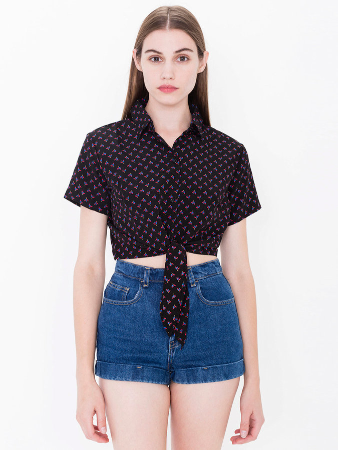 American Apparel Floral Mid-Length Tie-Up Blouse