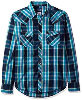 Wrangler Men's Plaid Long Sleeve Two Pocket Snap Shirt