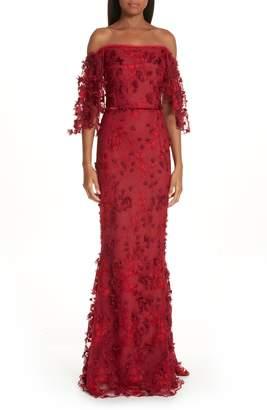 Marchesa Flutter Sleeve Embroidered Column Gown