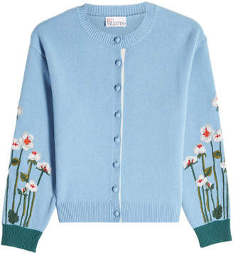 RED Valentino Virgin Wool Cardigan with Embroidery