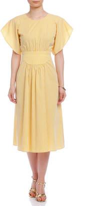 N°21 (ヌメロ ヴェントゥーノ) - N°21 チェック ギャザーデザイン バックオープン 半袖ドレス イエロー 36