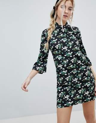 Influence Shift Dress With Mandarin Collar Detail In Daisy Garden Floral