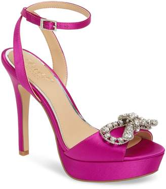 Badgley Mischka Mildred Crystal Bow Platform Sandal