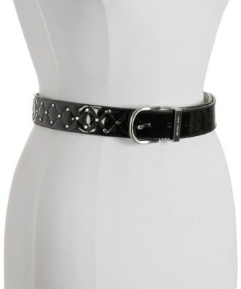 MICHAEL Michael Kors black quilted patent 'Astor' studded belt