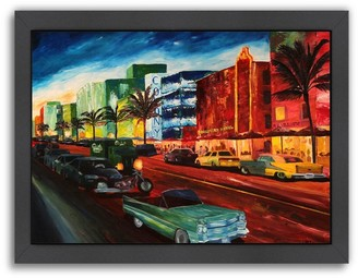 "Ocean Drive Americanflat ""Miami With Mint Cadillac"" Framed Wall Art"
