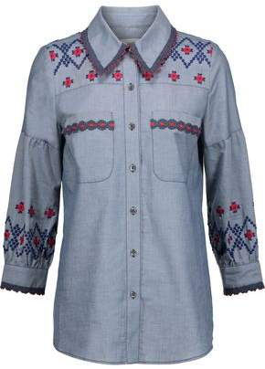 Anna Sui Crochet-Trimmed Embroidered Cotton-Chambray Shirt