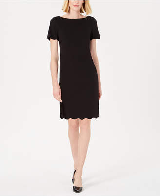 Kasper Scalloped Crepe Dress