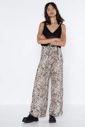 Nasty Gal Snake Your Time Wide-Leg Pants