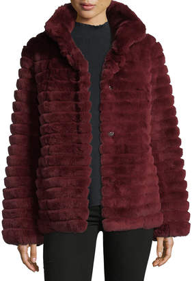 Gorski Reversible Down & Fur Belted Puffer Coat