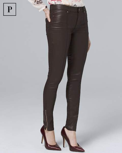 Whbm Petite Mid-Rise Coated Skinny Ankle Jeans