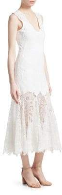 Jonathan Simkhai Eyelet Applique Racer Midi Dress