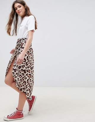 Asos Design DESIGN leopard print wrap midi skirt