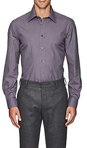 Luciano Barbera Men's Micro-Checked Cotton Poplin Shirt - Purple Pat