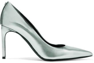 Tom Ford Metallic Textured-leather Pumps - Silver