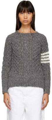 Thom Browne Grey Four Bar Aran Cable Crewneck Sweater