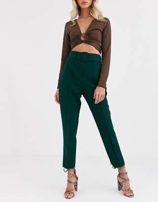 Asos Design DESIGN high waist cigarette pants with belt