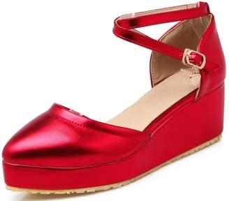 DoraTasia Women's Patent Leather Cross Strap Pointed Toe Wedges Platform Pumps Shoes