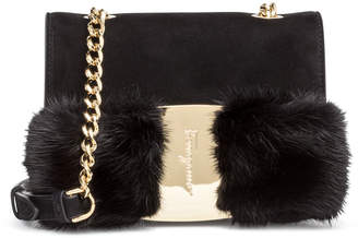 Salvatore Ferragamo Vara Rainbow black mink bow bag
