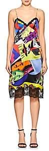Versace Women's Lace-Trimmed Graphic Silk Slipdress