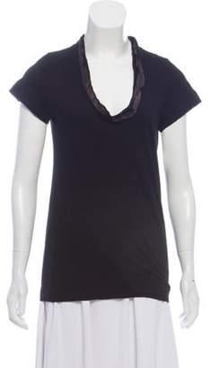Sacai Luck Satin-Trimmed Short Sleeve T-Shirt Black Luck Satin-Trimmed Short Sleeve T-Shirt