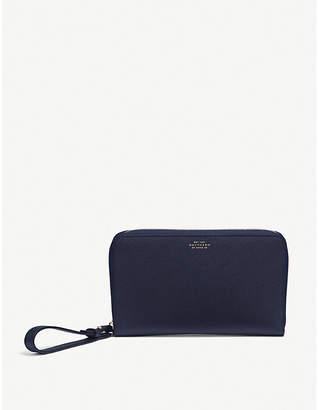 Smythson Panama cross-grain leather Long Haul travel wallet