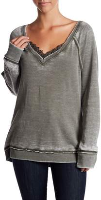 Melrose and Market Lace Trim Fleece Pullover