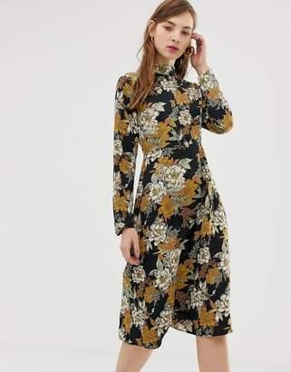 Glamorous high neck midi dress in vintage floral