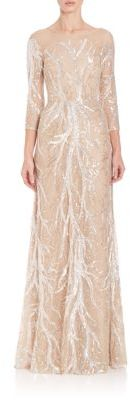 David Meister Three-Quarter Sleeve Embroidered Sequin Gown
